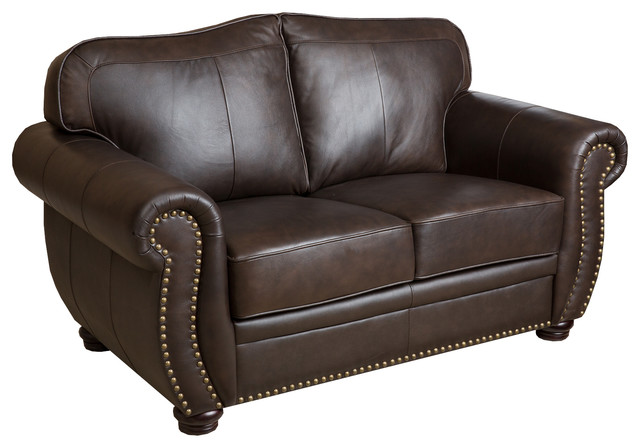 Palazzo Leather Loveseat, Brown.