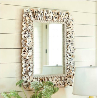 oyster shell mirror  tropical  wall mirrors ballard