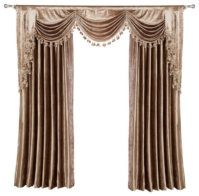 Luxurious Window Curtain, Velvet Rocks, 100x96, 2 Panels With Valance.