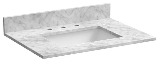 """Marble Vanity Top In Carrara White, 31""""."""
