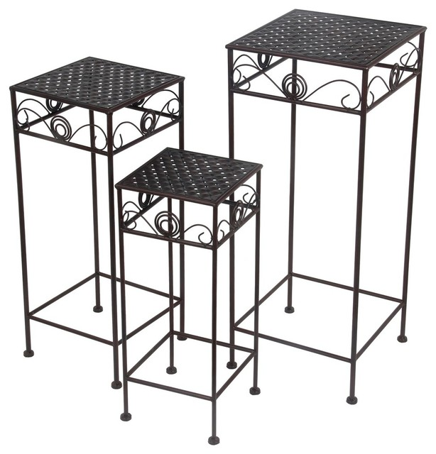Set Of 2 Square Design Nesting Coffee Tables Made Of Black: 3-Piece Black Metal Nesting Square Plant Stand Set Swirl