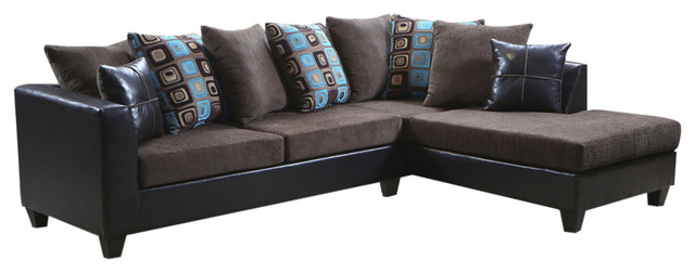 Reynaldo Sectional Denver Mocha -Grady Chocolate, Anderson Aqua, Brown