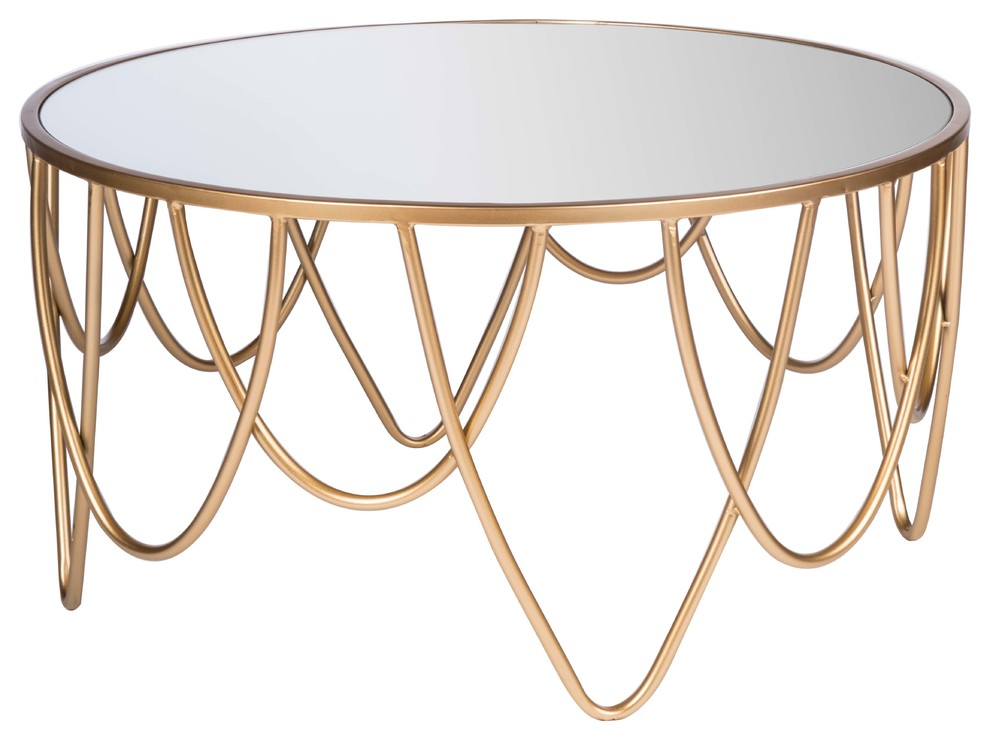 """52/"""" X 30/"""" X 18/"""" Mirrored And Antique Gold Coffee Table"""