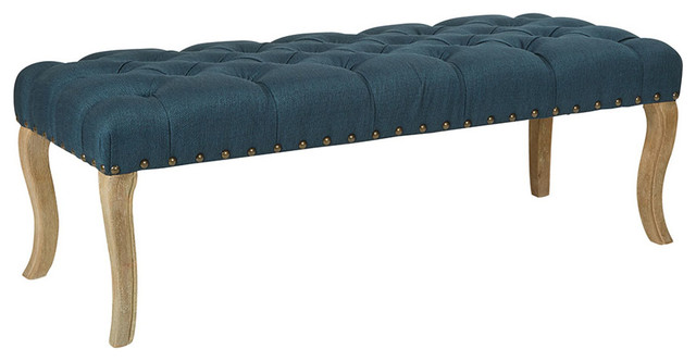 Scarlet Bench Klein Azure Fabric With Antique Bronze Nailheads With Brushed Legs. -1