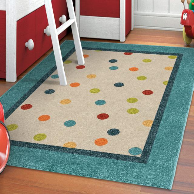 """Orian Indoor/Outdoor Kids Court Polka Dot Area Rug, Cream, 5'2""""x7'6"""""""