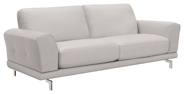 Leather Sofa In Dove Gray