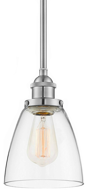 Industrial Pendant Light Glass Shade, Brushed Nickel Finish.