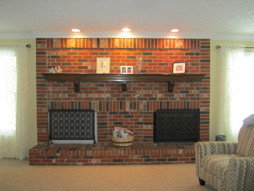 Here is my BIG red brick fireplace.  It is 11 feet wide and goes floor to ceiling.  There is only one fire box (right)