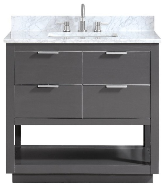 Avanity Allie 37 Vanity, Twilight Gray/Silver With Carrara White Top by Avanity Corp