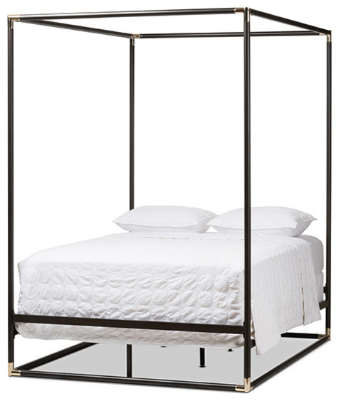 eva vintage industrial black finished metal canopy queen bed industrial canopybeds