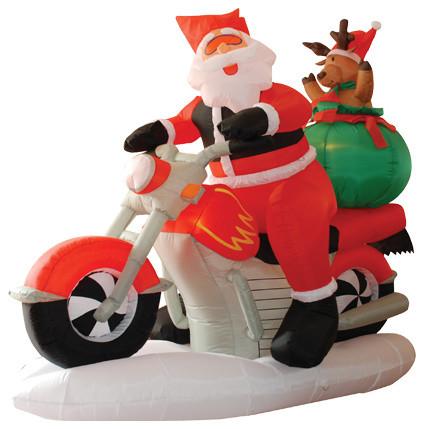 Wide Christmas Inflatable Santa Claus Driving Motorcycle With Reindeer, 6u0027
