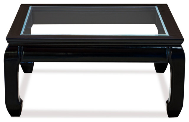 rosewood ming style square coffee table with glass black ebony