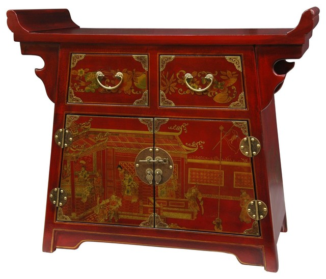 Red Lacquer Village Life Altar Cabinet - Traditional - Side Tables And End Tables - by Oriental ...