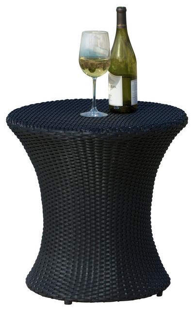 GDF Studio Lorenzo Outdoor Wicker Accent Table, Black