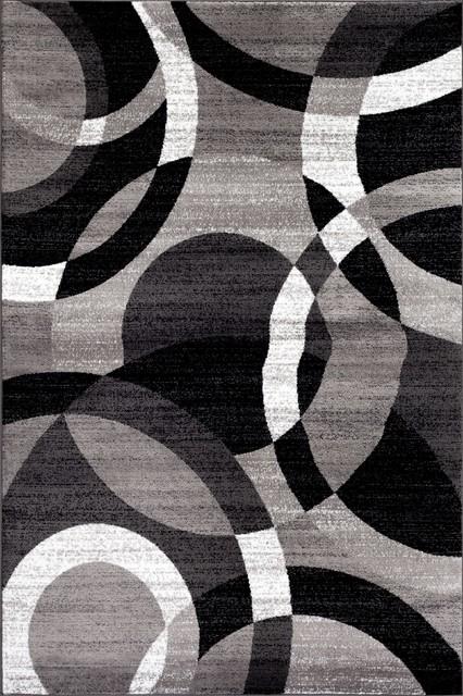 Contemporary Modern Circles Area Rug, Gray, 6&x27;6x9&x27;.