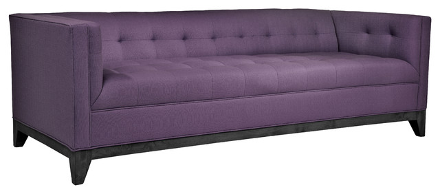 Damon Transitional Tufted Tuxedo Sofa in Linen, Purple sofas