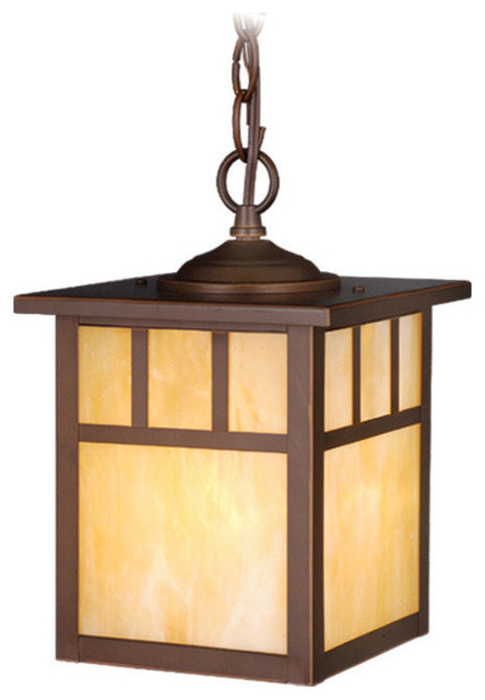 """Mission 7"""" Outdoor Pendant Light, Burnished Bronze and Honey Opal"""