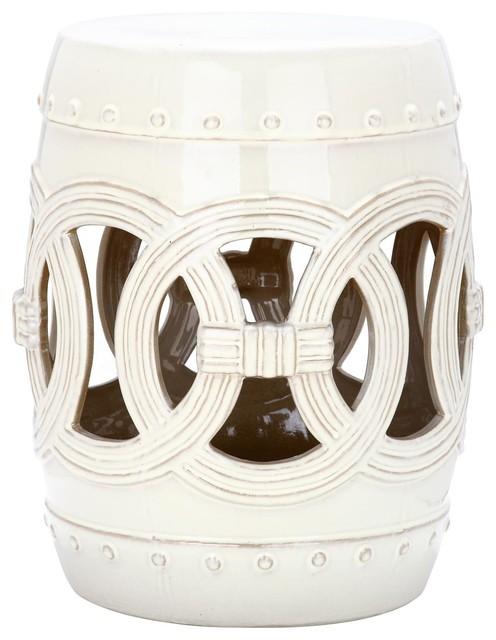 White Glazed Ceramic Garden Stool, White Glazed