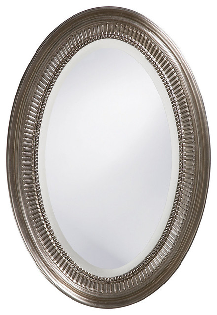 Beckham Bright Nickel Oval Mirror 21 X31 Traditional Bathroom Mirrors By Classy Mirrors Houzz