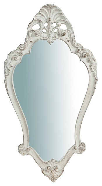 Baroque Wooden Wall Mirror, Antique White, 41x77 cm