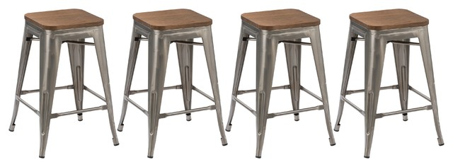Distressed Metal Bar Stools With Wood Seat Set Of 4 24