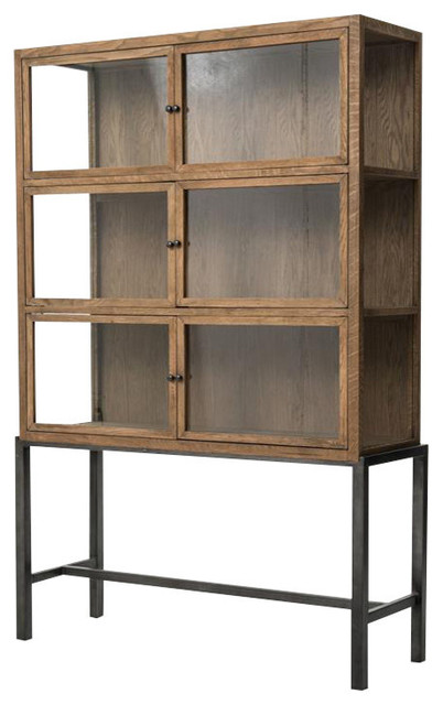 Sterling Curio Cabinet Drifted Oak Industrial China
