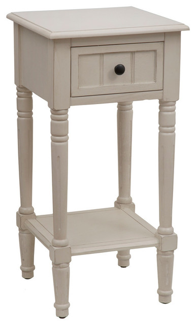 Simplify Accent Table With Drawer Antique White