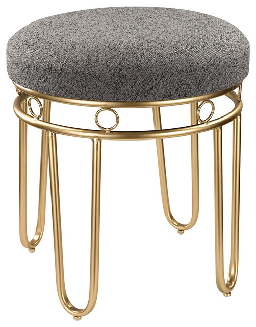 Signature Ottomans And Stools, Gray And Gold.