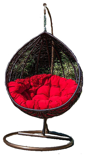 Enjoyable Outdoor Patio Swing Hanging Hammock Egg Chair Caribbean Red Large Caraccident5 Cool Chair Designs And Ideas Caraccident5Info