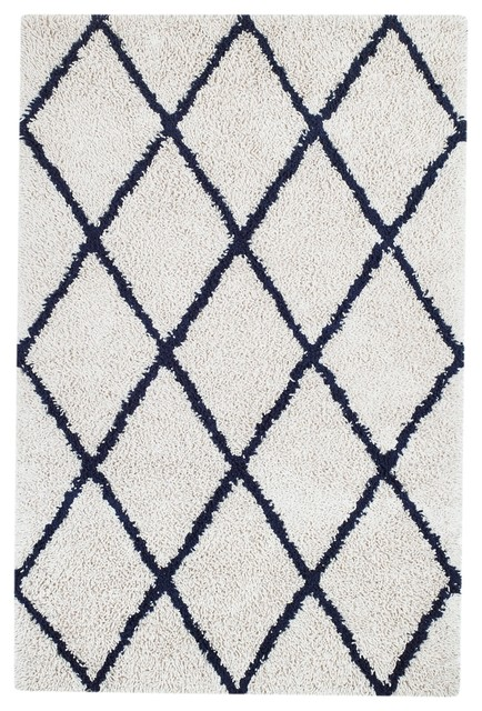 silky shag area rug with diamond ivory and navy - Shag Area Rug