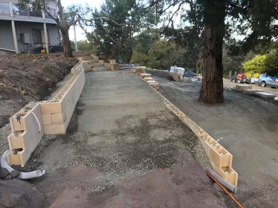 Sandstone paving and retaining wall - Bicheno