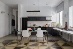 Проект недели 30 кв.м.  кухня-гостиная с открытой кладкой (12 photos)