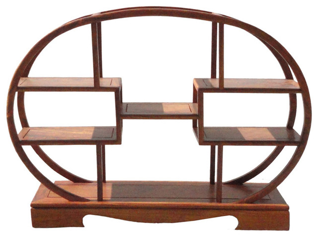 Chinese Rosewood Oval Small Table Top Curio Display Stand