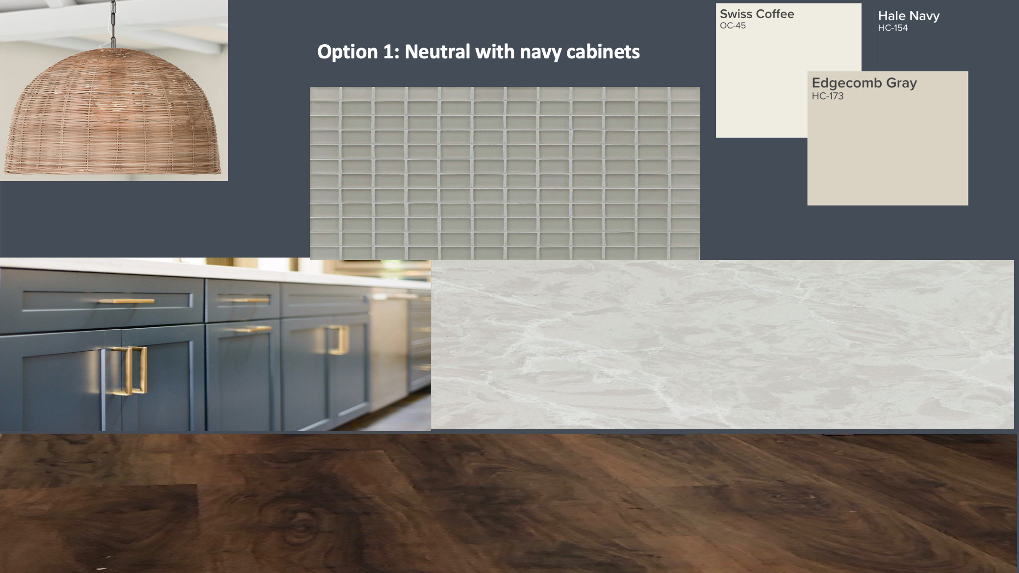 Option 1: Neutral with navy cabinets