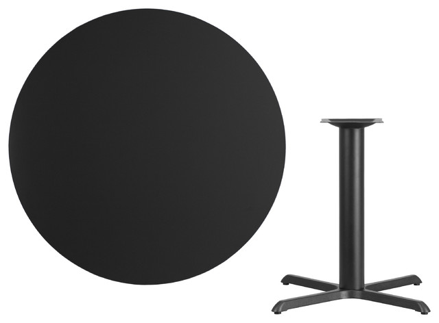 42'' Round Black Laminate Table Top With 33''x33'' Table Height Base