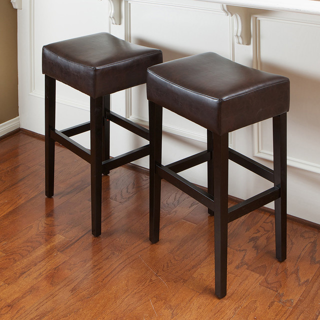 Duff Backless Brown Leather Bar Stools, Set of 2