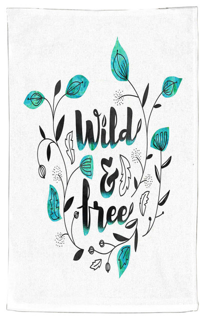 Peachy Wild And Free Teal Kitchen Towel Cotton 18X30 Home Interior And Landscaping Eliaenasavecom