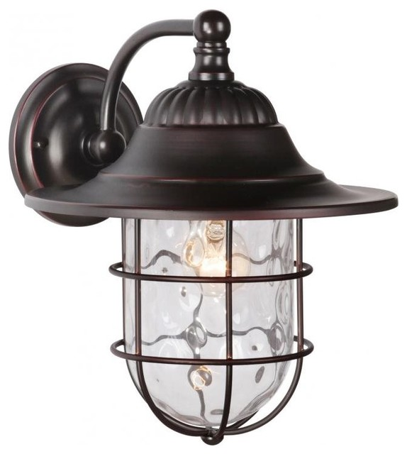 Fairmont 1 Light Large Wall Mount, Oiled Bronze Gilded Beach Style Outdoor