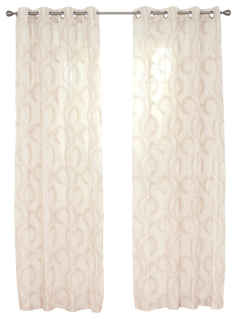 Andrea Embroidered Curtain Panel, Taupe, 95.