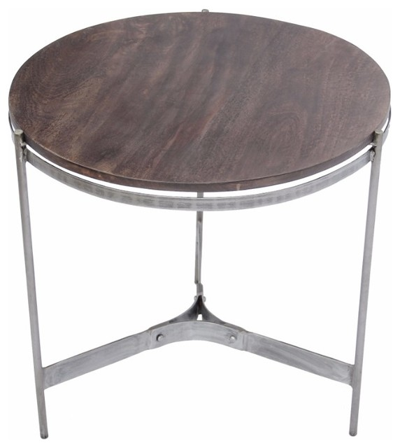 4fd05d243e The Urban Port Wooden Round Top Table With 3-Leg Metal Stand, Natural Wood  Brown - Industrial - Side Tables And End Tables - by Benzara, Woodland  Imprts, ...