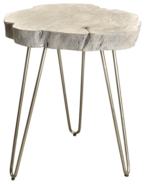 Solid Wood/iron Accent Table, Gray.