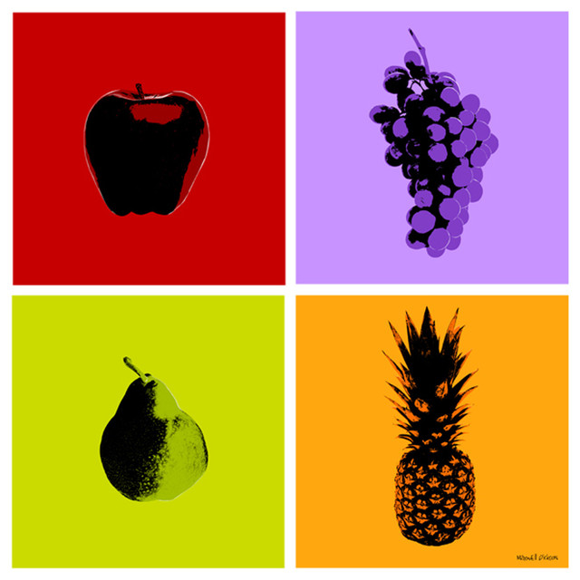 Fruits 4 piece set pop art wall canvas print by maxwell for Pop wall art