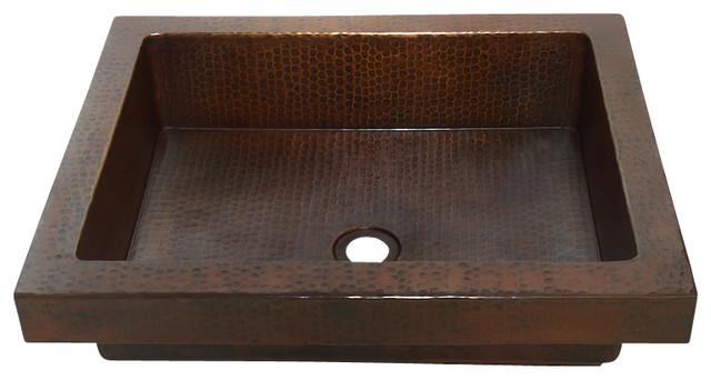 Rectangular Raised Profile Bathroom Copper Sink With Apron