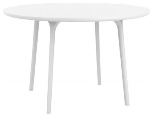 Maya Round Outdoor Table White Midcentury Outdoor Dining Tables