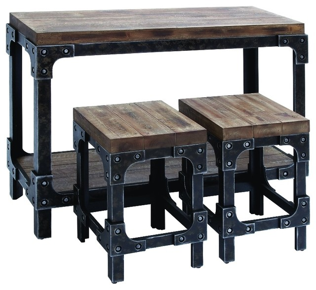 Console Table 2 Stools Distressed Wood Metal Home Accent Decor