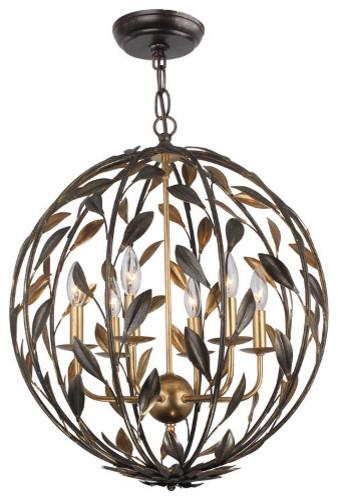 Crystorama Broche 6 Light Bronze Sphere Chandelier