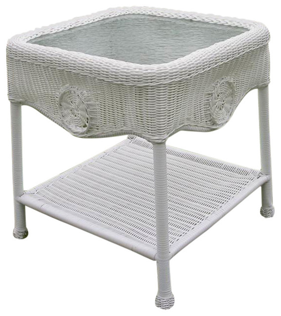 Wicker Glass Top Side Table Outdoor Side Tables By