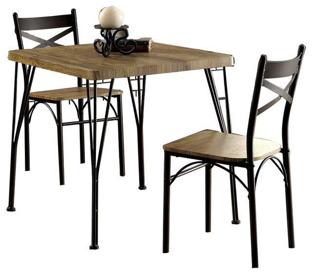 Industrial Style 3 Piece Dining Table Set Brown And Black
