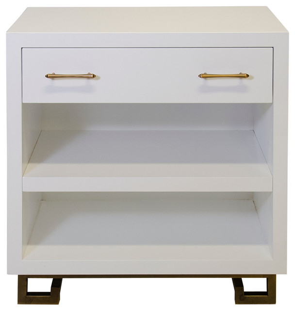 White Lacquer Nighstand With Antique Brass Hardware  Transitional Nightstands And Bedside Tables