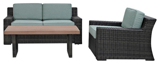 Beaufort 3-Piece Outdoor Wicker Seating Set With Mist Cushion.